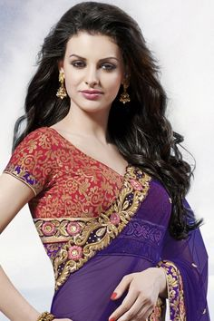 Indigo Violet and Persian Red Net and Velvet Party Lehenga Style Saree Sku Code:37-5552SA942573 http://www.sareez.com/product_info.php?products_id=171144
