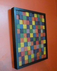 Wood Wall Art with Multi Painted Squares by AtticJoys1 on Etsy, $68.00