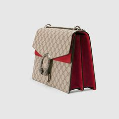 Gucci Women - Gucci Dionysus Beige/Ebony GG Supreme Canvas shoulder bag with Red Suede Detail - $2,250.00 Cute Handbags, Gucci Handbags, Gucci Fashion, Canvas Shoulder Bag, Dionysus, Luxury Bags, Beautiful Bags, Supreme, Purses