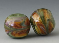 Marbled Pair - (2) Handmade Lampwork Beads - Lavender, Brown. Outwest Beads