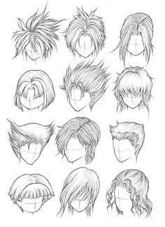 How to Draw Hair (Part Kanji de Manga Vol 3 cover image Manga Drawing Tutorials, Drawing Techniques, Figure Drawing Reference, Art Reference Poses, Anime Drawings Sketches, Cartoon Drawings, Anime Character Drawing, Character Art, Boy Hair Drawing