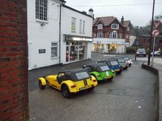 Caterham Cars forecourt, Station Approach, Caterham Valley Caterham Cars, Caterham Super 7, Lotus 7, Kit Cars, Surrey, Childhood, Fans, Tumblr, Memories