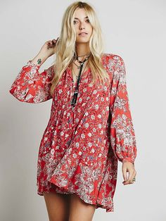 hem band & raglan sleeves are different fabric, fully lined, elastic band under bust in front, back gathered at neck edge, tassel ties Free People Lucky Loosey Shapeless Dress, $128.00