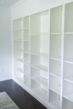 Ikea book shelves billy bookcases turned into beautiful built in bookshelve Ikea Billy Bookcase Hack, Bookshelves Built In, Built Ins, Billy Bookcases, Billy Bookcase With Doors, Bookshelf Ideas, Book Shelves, Built In Furniture, Refurbished Furniture