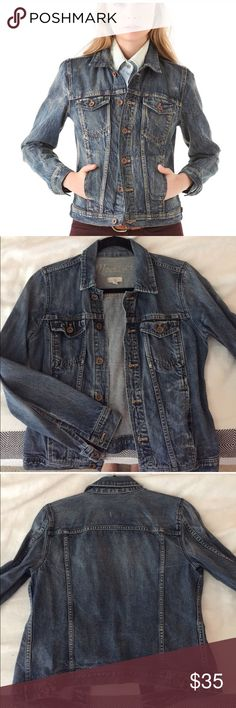 Madewell Denim Jacket Classic Madewell Denim Jacket. Very small worn patch on elbow that goes with the look of the Jacket. Madewell Jackets & Coats Jean Jackets