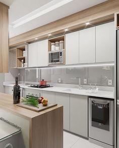 Cozinha planejada: confira 70 inspirações para a sua! Kitchen Design Small, Kitchen Decor, Interior Design Kitchen, Contemporary Kitchen, Kitchen Furniture Design, Kitchen Layout, Grey Kitchen Floor, Outdoor Kitchen, Kitchen Design