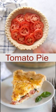 A savory summertime Tomato Pie made by layering tomatoes slices, basil onion and a cheese spread into a pie crust and baking it until golden and bubbly. This is the perfect recipe for using up your excess fresh garden tomatoes! Veggie Dishes, Food Dishes, Veggie Food, Side Dishes, Vegetarian Recipes, Cooking Recipes, Beef Recipes, Easy Recipes, Chicken Recipes