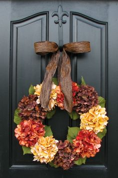 Reserved for LesleyApperloo - Fall Hydrangeas, Autumn Leaves, Autumn Decor, Front Door Wreaths, Holidays, Oktoberfest, Harvest. $170.00, via Etsy.