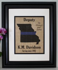 """POLICE Gift Thin Blue Line across ANY US State - Personalized - State Police, Law Enforcement, Deputy, State Trooper - Home Decor on Burlap. PRINT ONLY - frame is not included. We make these easy to frame. They are made to fit in a frame that is matted to 8""""x10"""" unless other size requested. POLICE Thin Blue Line across US State on Burlap - Personalized Made by a Police Officer for Officers. Thank You for your service!!..."""