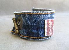Levi Denim Cuff Bracelet - Blue Denim Bracelet - Upcycled Levi Bracelet - Jeans bracelet - Levis - Bracelet - Piece Lust