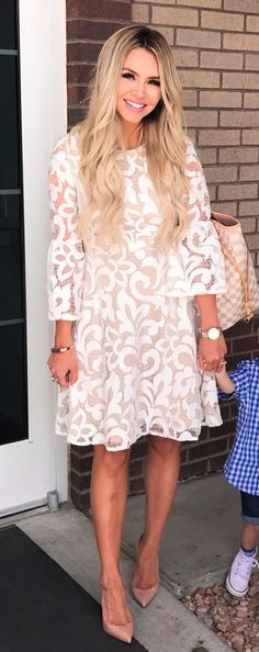 #spring #outfits White Lace Dress & Nude Pumps