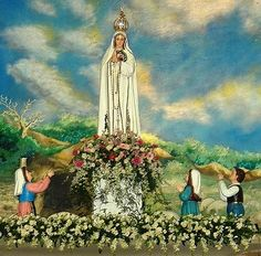 """May 13th - The Feast of Our Lady of the Holy Rosary of Fatima - In 1917 our Blessed Mother appeared six times to three children Lucia and her cousins Francisco and Jacinta in the small village of Fatima in Portugal on the 13th between May to October. On 13 May 1917 the children saw Mother Mary """"brighter than the sun shedding rays of light clearer and stronger than a crystal goblet filled with the most sparkling water and pierced by the burning rays of the sun."""" She wore a white mantle edged…"""