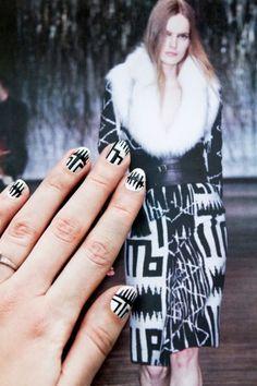 (via Nail Art Designs - Runway Nail Art DIY) Click through for a tutorial for these Altuzarra-inspired nails! Nail Art Blog, Nail Art Diy, Diy Nails, Fancy Nails, Bling Nails, Cute Nails, Trendy Nails, Oxblood Nails, Runway Nails