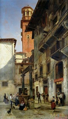 """Via Mazzanti In Verona"" , 1880 Painting By : Jacques Carabain,  Dutch - Belgian, 1834 - 1933"