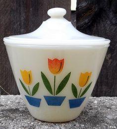 Fire King Tulip milk glass grease Lidded Jar Oven Ware by vakvar