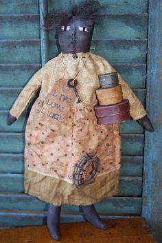 Primitive Mammy Doll Pattern Folk Art by stitchintimepatterns