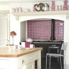 i love the purple kitchen tiles Shabby Chic Kitchen, Home Decor Kitchen, Country Kitchen, Kitchen Colour Schemes, Kitchen Colors, Color Schemes, Neutral Kitchen, Black Kitchens, Cool Kitchens