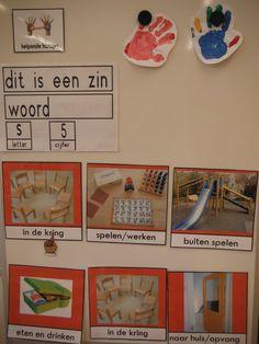 dagritme, helpende handjes, zin, woord, letter, cijfer.