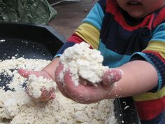 Cloud Dough:)) | Pre-school Play  8 cups flour, 1 cup baby oil. Mix with hands until the mixture is like breadcrumbs. Special because it is moldable like wet sand but soft like a cloud.
