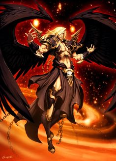 Samyaza, in the Book of Enoch he is portrayed as the leader of a band of angels called the Grigori (The Watchers) that are consumed with lust for mortal women and become Fallen Angels.