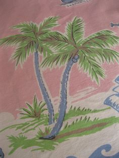 Vintage pink Florida souvenir tablecloth with flamingos and palm trees - 1950s