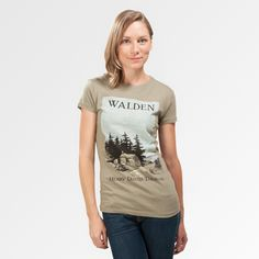 Walden book cover women's t-shirt | Outofprintclothing.com is a site with graphics on T-shirts from old book covers. Mostly classic novels some children's books too