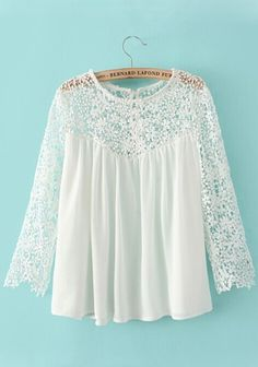 White Plain Lace Hollow-out Nine's Sleeve Blouse