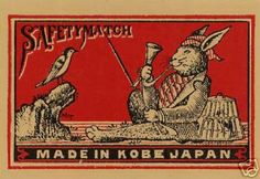 Lucky Rabbit Fishing Early 20 TH Century Japanese Match Label Art Postcard | eBay