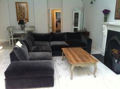 The Stella large corner sofa in cotton matt velvet 'Elephant'…