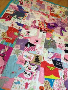 Turn your kids outgrown clothes into a quilt.  What a great way to save those special items!