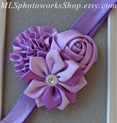 The Lovely Layers of Lavender Satin Headband - Baby Girl Light Purple Satin Flower Hair Bow - Little Girl's Lovely Lavender Headband on Etsy, $7.00