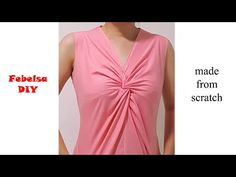 How to make Bust Twist Knot Top (method - hướng dẫn may áo xoắn ngực Dress Neck Designs, Designs For Dresses, Diy Tops For Women, Couture Sewing Techniques, Beginner Sewing Patterns, Knot Dress, Wrap Dress, Apron Dress, Fashion Sewing