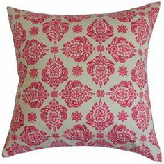 """Add a pop of style to your sofa or settee with this eye-catching pillow, featuring a floral-inspired medallion motif.   Product: PillowConstruction Material: Cotton cover and 95/5 down fillColor: BlossomFeatures:  Hidden zipper closureMade in the USAInsert included Dimensions: 18"""" x 18""""Cleaning and Care: Spot clean only"""