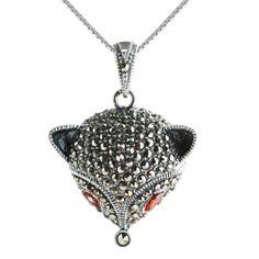 Designer Red Garnet Sterling Silver Fine Jewelry Fox Pendant Necklaces SKU-10802342