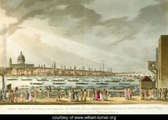 Lord Nelsons funeral procession by water from Greenwich to Whitehall from The History and Graphic Life of Nelson, engraved by J. Clark and H. Marke, pub. by Orme, 1806 - Joseph Mallord William Turner - www.william-turner.org