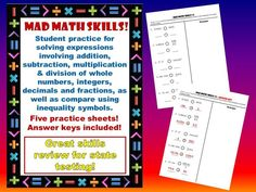 Computation Practice. Great student practice for solving expressions involving addition, subtraction, multiplication & division of whole numbers, integers, decimals and fractions, as well as compare using inequality symbols.  Great skills practice for state testing!!!  Easy prep! Just print and practice!!  Five practice pages with answer keys!!!  BE SURE TO CHECK OUT THE PREVIEW!!!!   https://www.teacherspayteachers.com/Store/Mathalicious