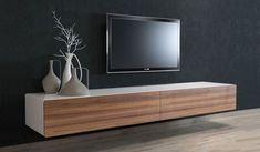 Ikon White + Walnut Floating TV Unit  - 220cm                              …