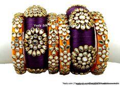 Yaalz Partywear Heavy Kundan Stone Bangle Set In Wine Purple & Orangish Yellow Colors
