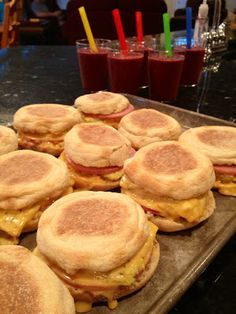 Egg McMuffins - make ahead and freeze for easy mornings. Use veggie sausage or just no meat