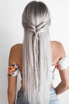 25 Easy Hairstyles for long hair – Hair Styles 2019 Haircuts For Long Hair, Braids For Long Hair, Straight Hairstyles Prom, Boho Hairstyles For Long Hair, Curly Hair, Short Haircuts, Evening Hairstyles, Bohemian Hairstyles, Hairstyles With Braids