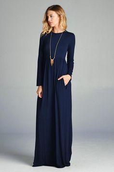 a887db485dd4 Solid high waist maxi dress with hidden pocket. Long maxi - approx length  61