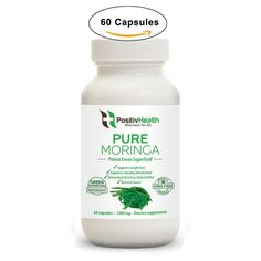Pure Moringa Oleifera Leaf Powder Dietary Supplement 60 Capsules, Antioxidant & Nutritious Green Superfood, Protect Brain Health, Boost Metabolism & Improve Digestion, For Men & Women