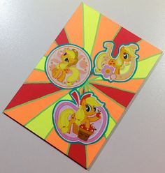 My Little Pony G4 ACEO ATC - Neon Jack - Applejack Art Card - Kawaii Stickers and Neon Abstract Design. $5.00, via Etsy.