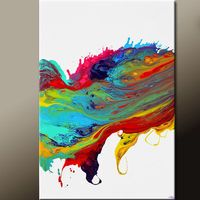 Abstract Canvas Art Painting 36x24 Original Modern Contemporary Rainbow Paintings by Destiny Womack - dWo - :Leaps & Bounds