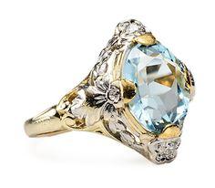 Striking Art Deco Aquamarine Diamond Ring - The Three Graces