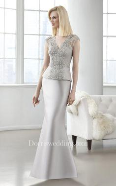 #Dorris Wedding - #Dorris Wedding Sheath Long V-Neck Cap-Sleeve Satin Beading Illusion Dress - AdoreWe.com
