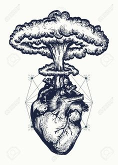 Illustration of Heart and nuclear explosion tattoo art. Symbol of love, feelings, energy. Nuclear explosion of anatomical heart t-shirt design surreal graphic vector art, clipart and stock vectors. Tattoo Sketches, Tattoo Drawings, Art Sketches, Tattoo Art, Tattoo Design Drawings, Tattoo Fonts, Tattoo Quotes, Temporary Tattoo Designs, Temporary Tattoos