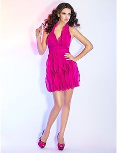Sheath/Column Halter Short/Mini Chiffon Cocktail Dress http://ltpi.co.nf/?item=530777