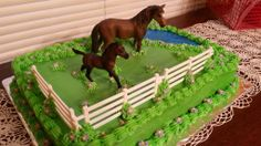 NO link. Just a photo of the cake I made for my daughter's 10th birthday. Used the star tip to make the shells all around the top and bottom edge, the grass tip to make the grass, store bought, gel icing (in the tubes...2 small) for the water, fencing from my sons farm set, :-) and horses bought at Rural King. (Can also buy at Wal-Mart, or Meijer.) Used disposable icing bags to make the tiny purple flowers...by placing four or five dots together in a circle pattern..with yellow dot in…