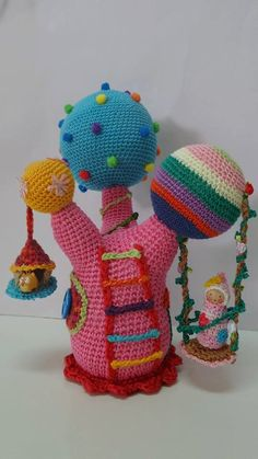 Whimsical Tree Colorful Tree Crocheted Tree Soft Toy by AubreyMade